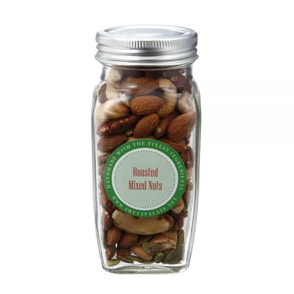 A tin of roasted mixed nuts made from Sweet Palate